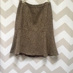 Brown tweed fit-and-flare skirt.